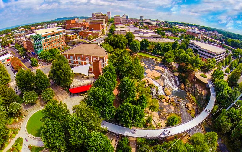 greenville aerial view over falls park on the reedy